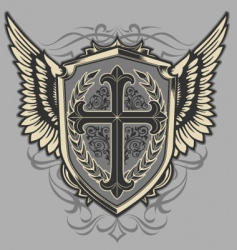 cross shield vector image