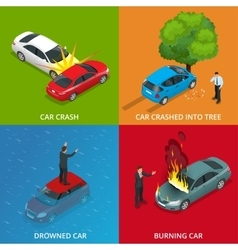 Crush car drowned car burning car car crushed vector image vector image