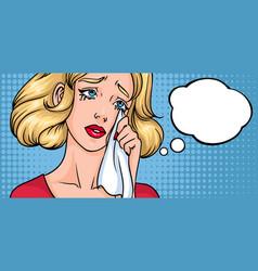 crying woman face sad girl horizontal background vector image