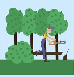man has cut wood vector image