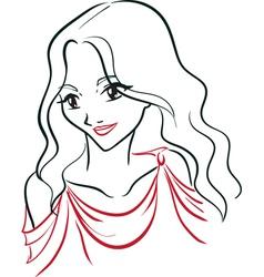 Portrait of greek woman vector image