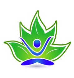Yoga lotus logo vector image