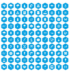 100 microbiology icons set blue vector