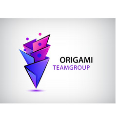 3d origami geometric men logo people vector image