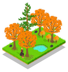 autumn forest concept banner isometric style vector image