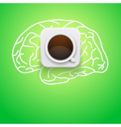 Background of cup coffee and brain vector