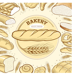 Bakery food items bread baguette in wheat circle vector