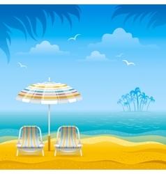 Beach background with blue sea stripped beach vector