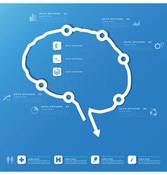 Brain shape business and medical infographic vector