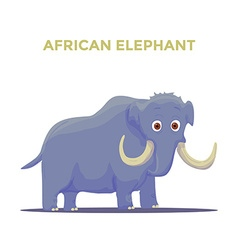 Cartoon African Elephant on White background vector image