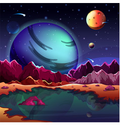 Cartoon planet landscape or scenery terrain vector