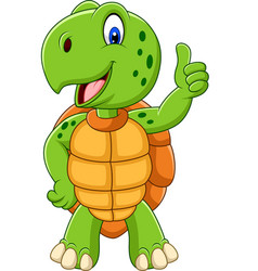 cartoon turtle giving a thumb up vector image