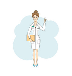Caucasian doctor female talking in white coat vector