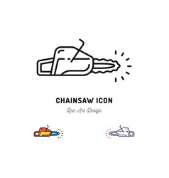 Chainsaw icon thin line art symbol vector