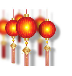 Chinese traditional gold red lanterns background vector