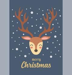 christmas reindeer gift card vector image