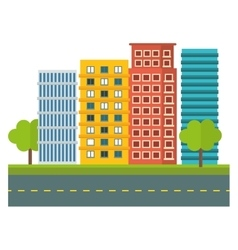 City scene and buildings with trees image vector