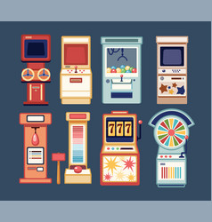 collection of arcade video games coin-ops and vector image