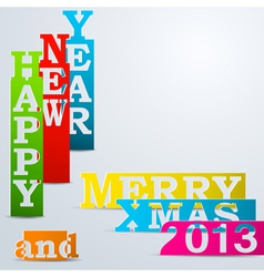 Colorful Happy New Year Merry Xmas paper strips vector image