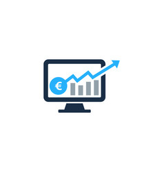 computer stair stock market business logo icon vector image