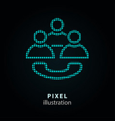 conference - pixel icon on vector image