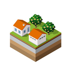 country farm trees vector image