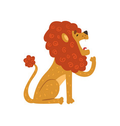Cute lion cartoon character sitting and yawning vector