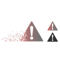 Disintegrating pixel halftone warning icon vector