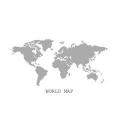 dotted blank black world map isolated on white vector image