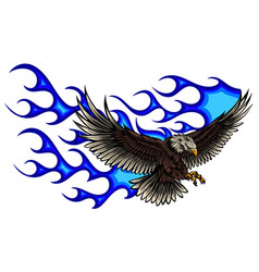 eagle with flame blue vector image