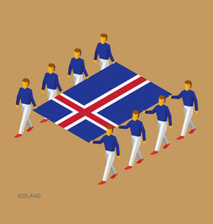 Eight people hold big flag of iceland vector