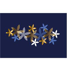 Elegant blue and gold floral element vector
