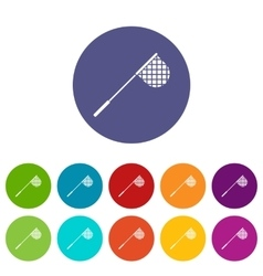 Fishing net set icons vector