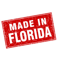 florida red square grunge made in stamp vector image
