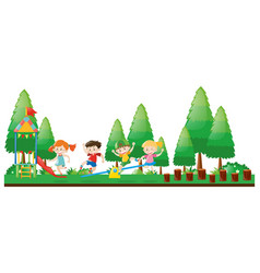 four kids playing in playground vector image