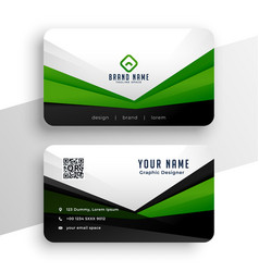 Geometric green business card professional design vector
