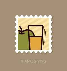 glass of fresh apple juice stamp thanksgiving vector image