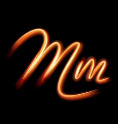 Glowing light letter m hand lighting painting vector