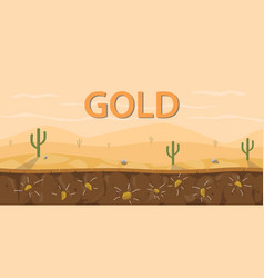 Gold mine stone soil layer with cactus on desert vector