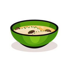 green bowl of soup with noodle and mushrooms vector image