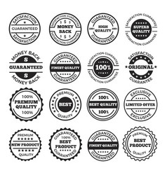 guarantee badges and logos design set vector image vector image