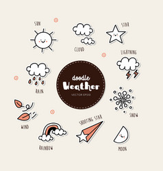 hand drawn weather icons vector image