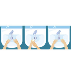 hand washing in the sink vector image
