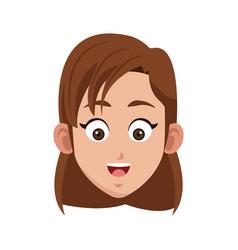 Happy girl cartoon icon vector