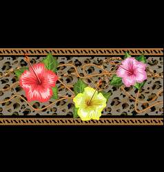 Horizontal chains seamless with tropical flowers vector