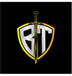Initials b t is a shield decorated vector