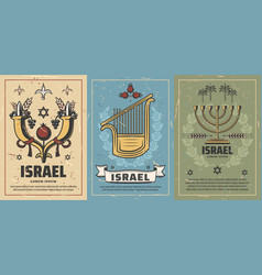 israel posters with culture or religion symbols vector image