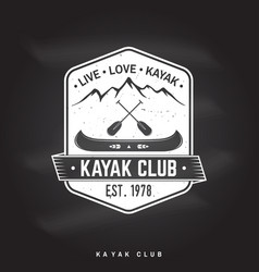 Kayak club live love kayak vector