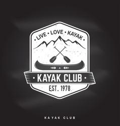 Kayak club live love vector