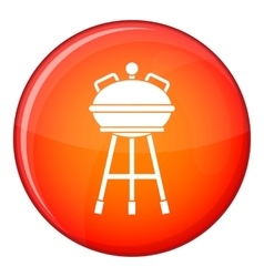 Kettle barbecue icon flat style vector